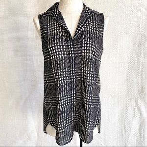 J.Crew S Work Print Sleeveless Button Down Tunic
